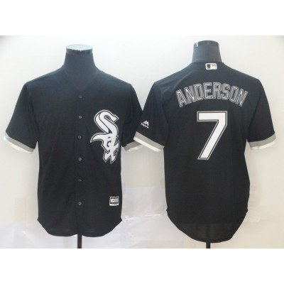 MLB White Sox 7 Tim Anderson Black Cool Base Men Jersey