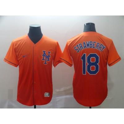MLB Mets 18 Darryl Strawberry Orange Drift Fashion Men Jersey