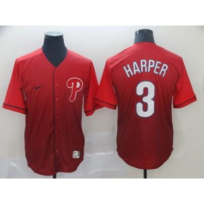 MLB Phillies 3 Bryce Harper Red Drift Fashion Men Jersey