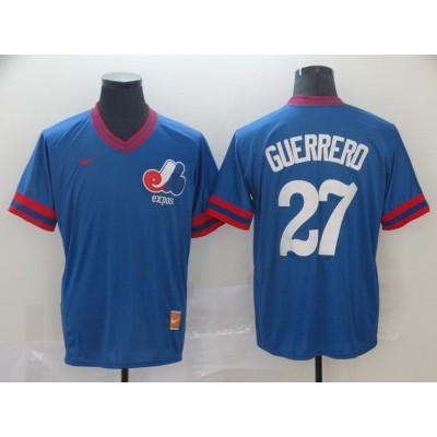 MLB Expos 27 Vladimir Guerrero Blue Nike Cooperstown Collection Legend V-Neck Men Jersey