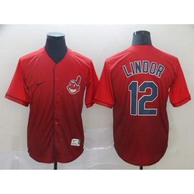MLB Indians 12 Francisco Lindor Red Drift Fashion Men Jersey