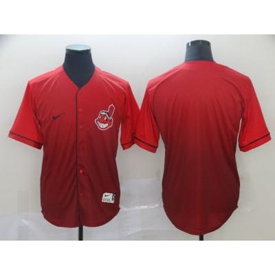 MLB Indians Blank Red Drift Fashion Men Jersey