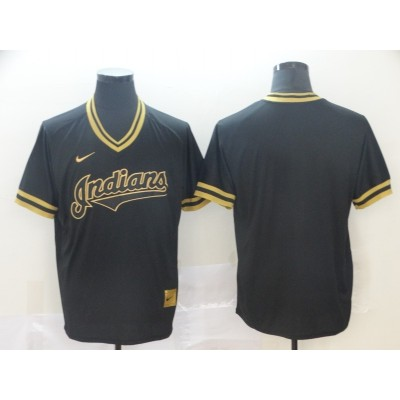 MLB Indians Blank Black Gold Nike Cooperstown Legend V Neck Men Jersey