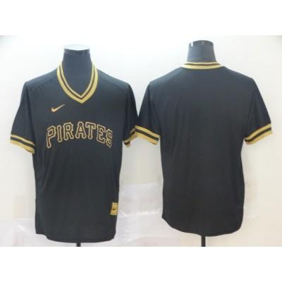 MLB Pirates Blank Black Gold Nike Cooperstown Legend V Neck Men Jersey