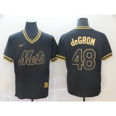 MLB Mets 48 Jacob deGrom Black Gold Nike Cooperstown Legend V Neck Men Jersey