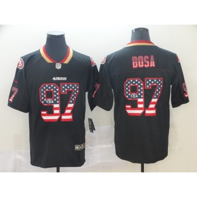 Nike 49ers 97 Nick Bosa Black USA Flag Fashion Limited Men Jersey