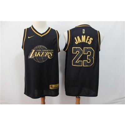 NBA Lakers 23 Lebron James Black Gold Nike Men Jersey