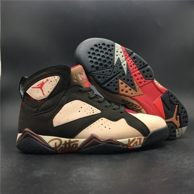 Patta Air Jordan 7 Shimmer Tough Red Velvet Brown Shoes