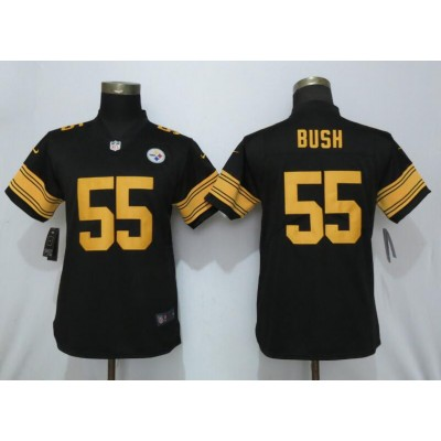 Nike Steelers 55 Devin Bush Black Color Rush Limited Women Jersey