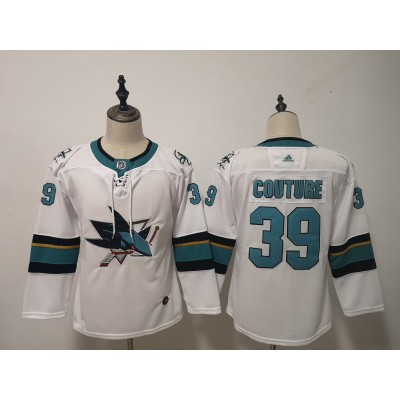 NHL Sharks 39 Logan Couture White Adidas Youth Jersey