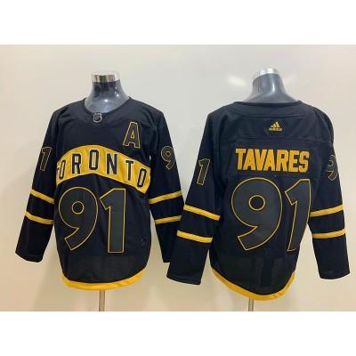 NHL Leafs 91 John Tavares Black Adidas Men Jersey
