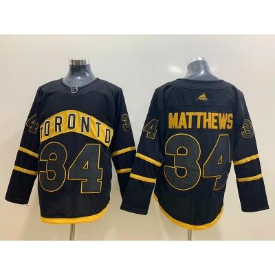 NHL Leafs 34 Auston Matthews Black Adidas Men Jersey