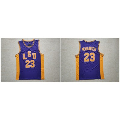 NCAA LSU Tigers 23 Pete Maravich Purple College Basketball Men Jersey