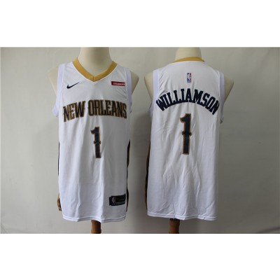 NBA Pelicans 1 Zion Williamson White Nike Men Jersey