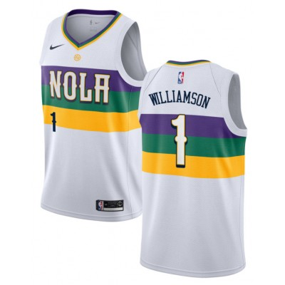 NBA Pelicans 1 Zion Williamson White City Edition Nike Men Jersey