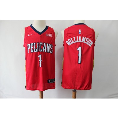 NBA Pelicans 1 Zion Williamson Red Nike Men Jersey With Logo