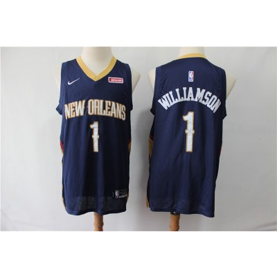 NBA Pelicans 1 Zion Williamson Navy Nike Men Jersey
