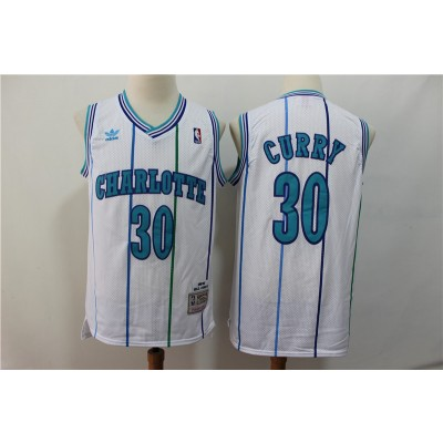 NBA Hornets 30 Dell Curry White 1992-93 Hardwood Classics Men Jersey