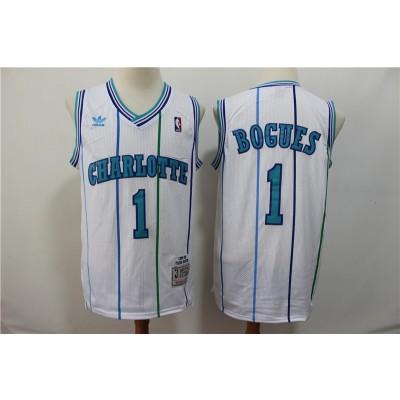 NBA Hornets 1 Muggsy Bogues White 1992-93 Hardwood Classics Men Jersey