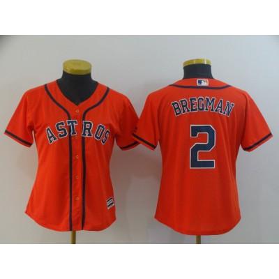 MLB Astros 2 Alex Bregman Orange Cool Base Women Jersey