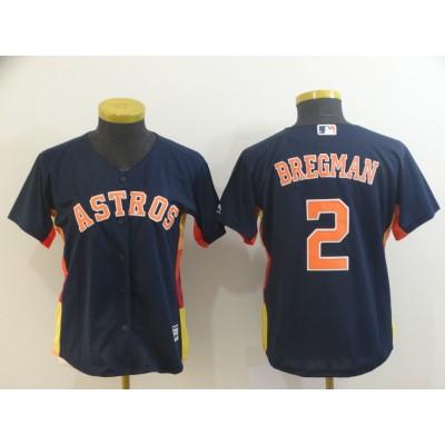 MLB Astros 2 Alex Bregman Navy Cool Base Women Jersey