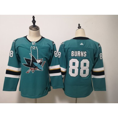 NHL Sharks 88 Brent Burns Teal Adidas Youth Jersey
