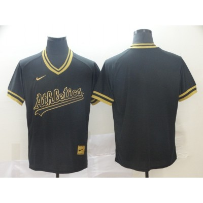 MLB Athletics Blank Black Gold Nike Cooperstown Legend V Neck Men Jersey