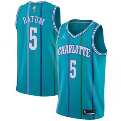 NBA Hornets 5 Nicolas Batum Jordan Brand Blue Hardwood Classics Men Jersey