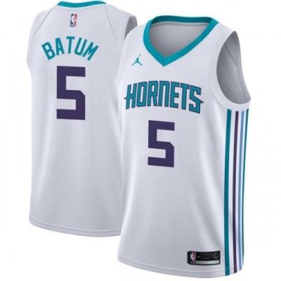 NBA Hornets 5 Nicolas Batum Jordan Brand White Men Jersey