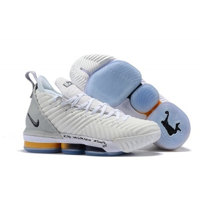 Nike LeBron 16 White Grey Black Gold Shoes