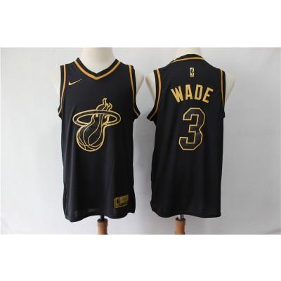 NBA Heat 3 Dwyane Wade Black Gold Nike Men Jersey