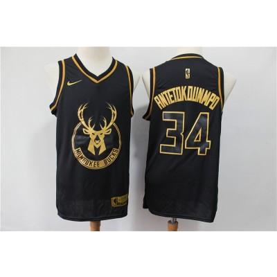 NBA Bucks 34 Giannis Antetokounmpo Black Gold Nike Men Jersey