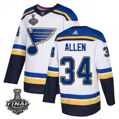 NHL St. Louis Blues 34 Jake Allen 2019 Stanley Cup Final White Adidas Men Jersey