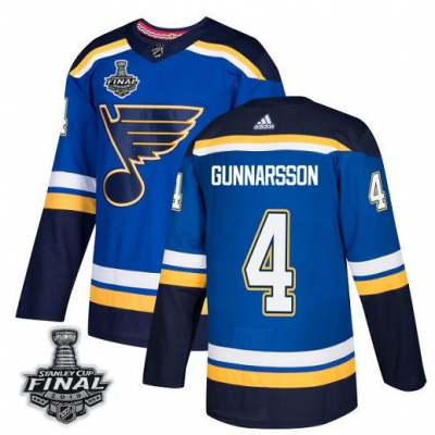NHL St. Louis Blues 4 Carl Gunnarsson 2019 Stanley Cup Final Blue Adidas Men Jersey