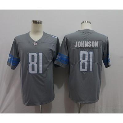Nike Lions 81 Calvin Johnson Gray Color Rush Limited Men Jersey