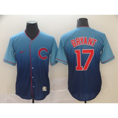 MLB Cubs 17 Kris Bryant Blue Drift Fashion Men Jersey