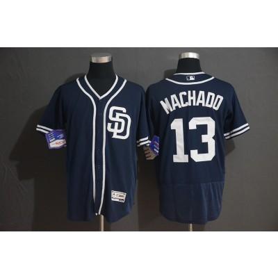 MLB Padres 13 Manny Machado Navy Flexbase Men Jersey
