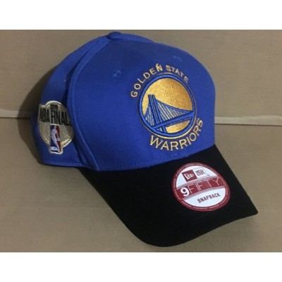 NBA Warriors Team Logo 2019 NBA Champions Blue Black Peaked Adjustable Hat GS