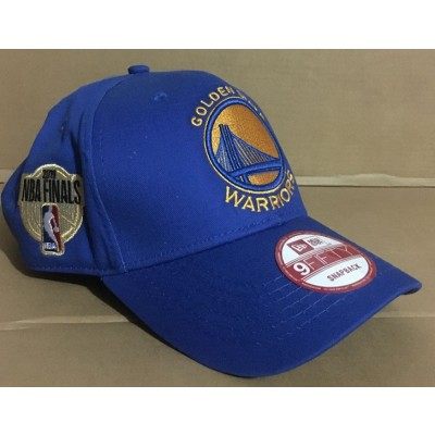NBA Warriors Team Logo 2019 NBA Champions Blue Peaked Adjustable Hat GS