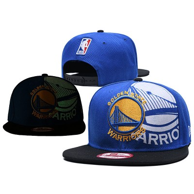 NBA Warriors Team Logo Blue Black Adjustable Hat GS