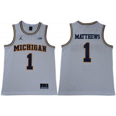 NCAA Michigan Wolverines 1 Charles Matthews White College Basketball Men Jersey