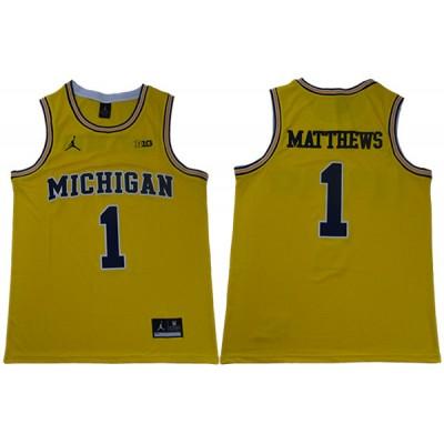 NCAA Michigan Wolverines 1 Charles Matthews Yellow College Basketball Men Jersey