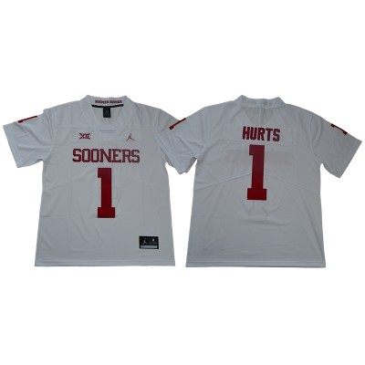 NCAA Oklahoma Sooners Jordan 1 Jalen Hurts College Football White Limited Men Jersey