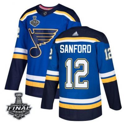 NHL St. Louis Blues 12 Zach Sanford 2019 Stanley Cup Final Blue Adidas Men Jersey