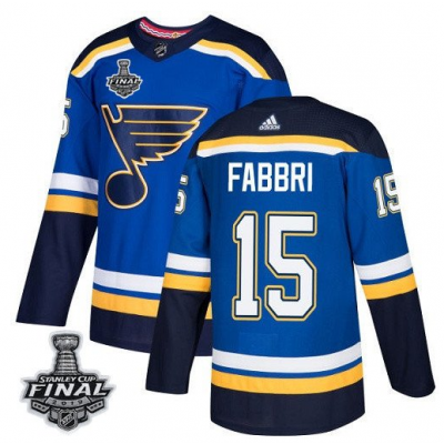 NHL St. Louis Blues 15 Robby Fabbri 2019 Stanley Cup Final Blue Adidas Men Jersey
