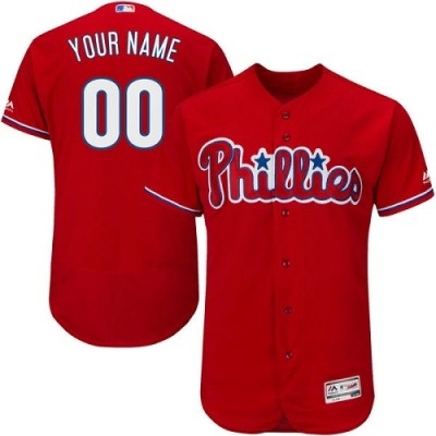 MLB Philadelphia Phillies Red Cool Base Customized Men Jersey