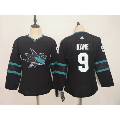 NHL Sharks 9 Evander Kane Black Adidas Youth Jersey