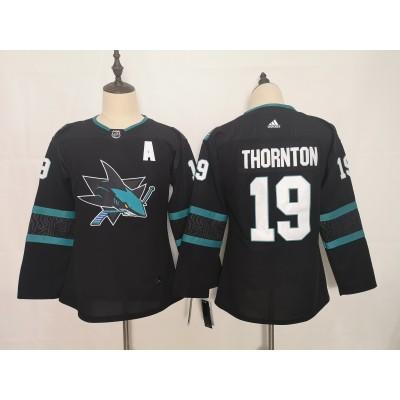 NHL Sharks 19 Joe Thornton Black Adidas Youth Jersey