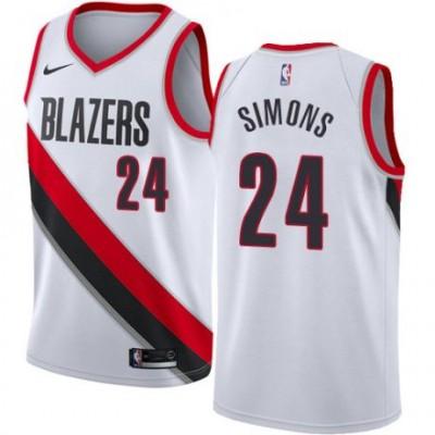 NBA Blazers 24 Anfernee Simons White Nike Men Jersey