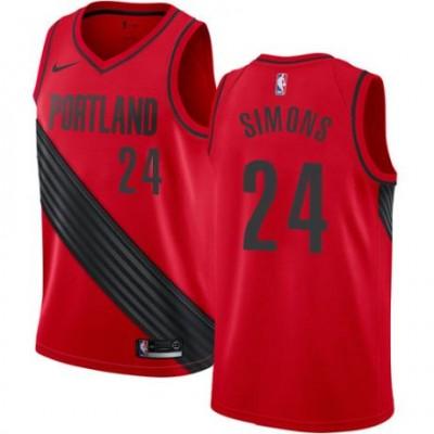 NBA Blazers 24 Anfernee Simons Red Nike Men Jersey